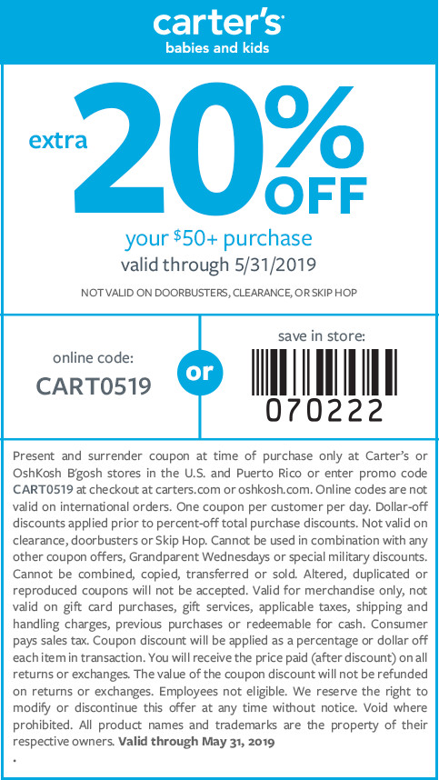 Carters Coupon November 2019 20% off $50 at Carters, or online via promo code CART0519