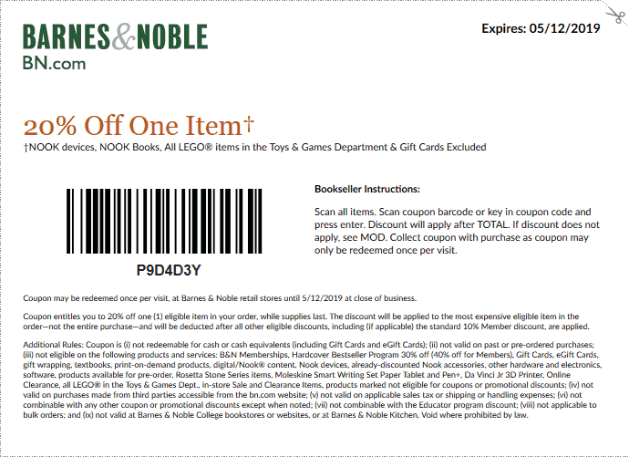 Barnes&Noble.com Promo Coupon 20% off a single item at Barnes & Noble, or 15% online via promo code SHARE15