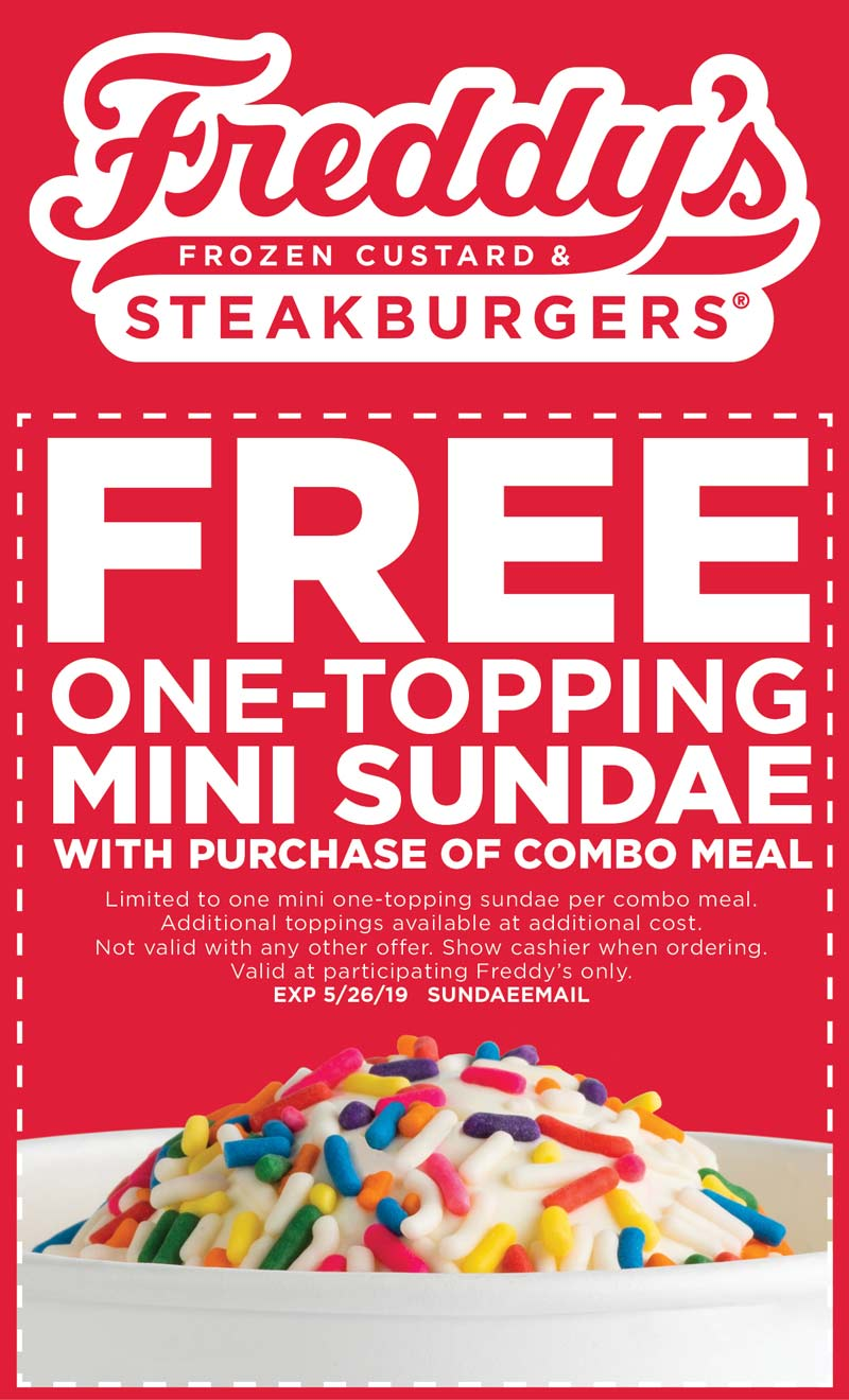 Freddys Coupon October 2019 Free sundae with your meal at Freddys frozen custard & steakburger restaurants