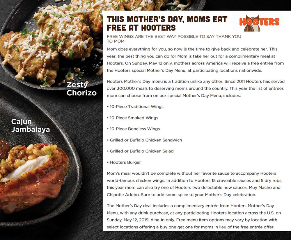 Hooters Coupon February 2020 Mom eats free Sunday at Hooters restaurants
