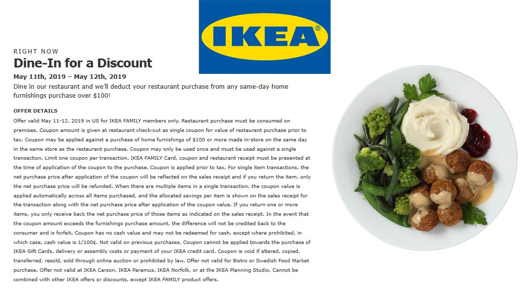 IKEA.com Promo Coupon Free meal with $100 spent this weekend at IKEA