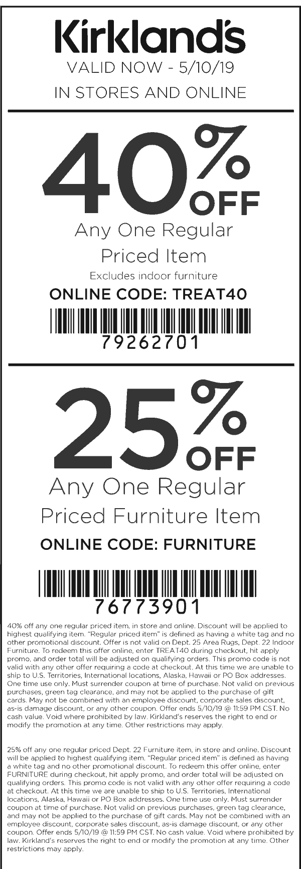 Kirklands Coupon November 2019 40% off a single item at Kirklands, or online via promo code TREAT40