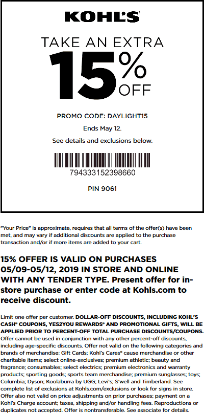 Kohls Coupon June 2019 15% off at Kohls, or online via promo code DAYLIGHT15