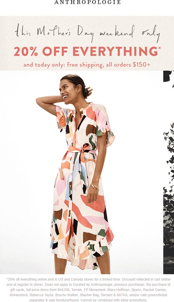 Anthropologie Coupon July 2020 20% off everything at Anthropologie