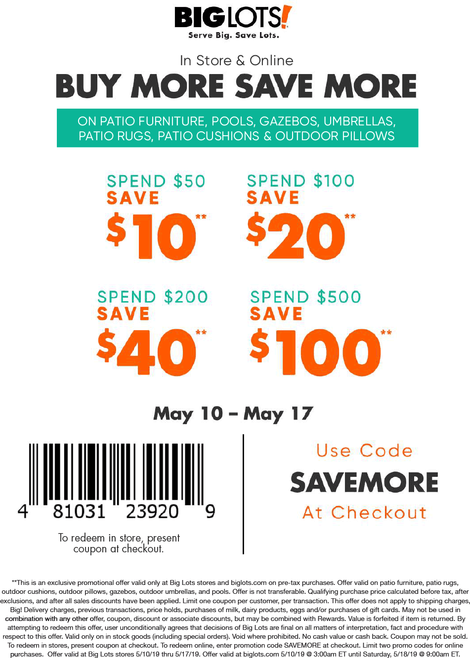 BigLots.com Promo Coupon $10 off $50 & more on outdoor at Big Lots, or online via promo code SAVEMORE