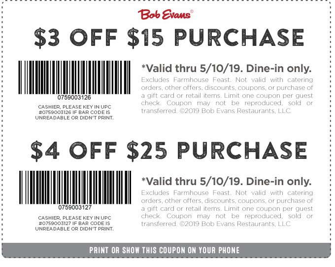 Bob Evans Coupon October 2019 $3-$4 off $15 today at Bob Evans restaurants