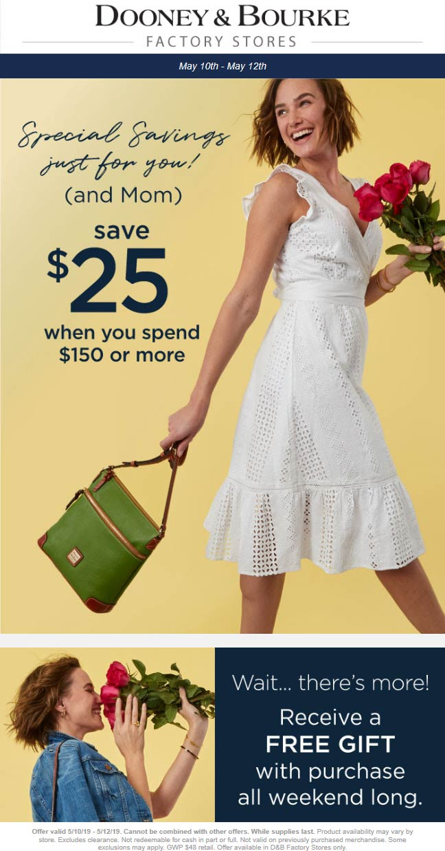 Dooney & Bourke Factory Coupon July 2020 $25 off $150 at Dooney & Bourke factory
