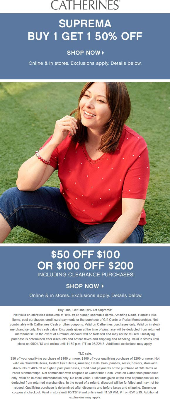 Catherines Coupon February 2020 $50 off $100 & more at Catherines, ditto online