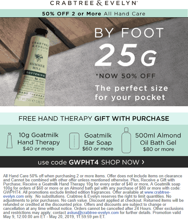 Crabtree & Evelyn Coupon August 2019 50% off 2+ hand care online at Crabtree & Evelyn + free gift via promo code GWPHT4