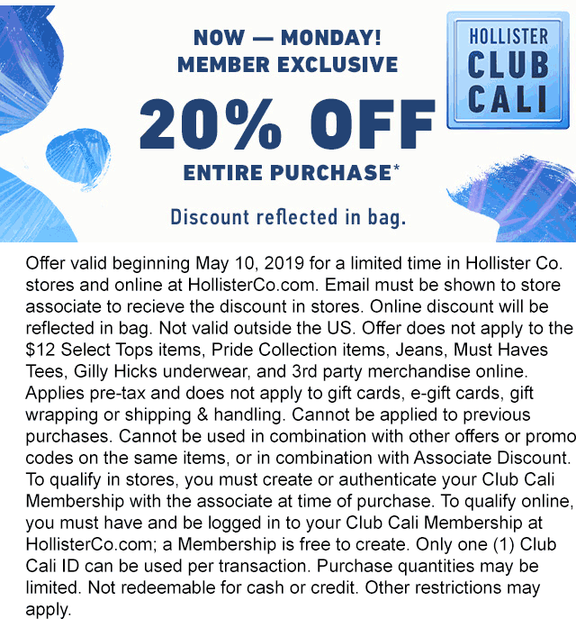 Hollister Coupon September 2019 20% off at Hollister, ditto online