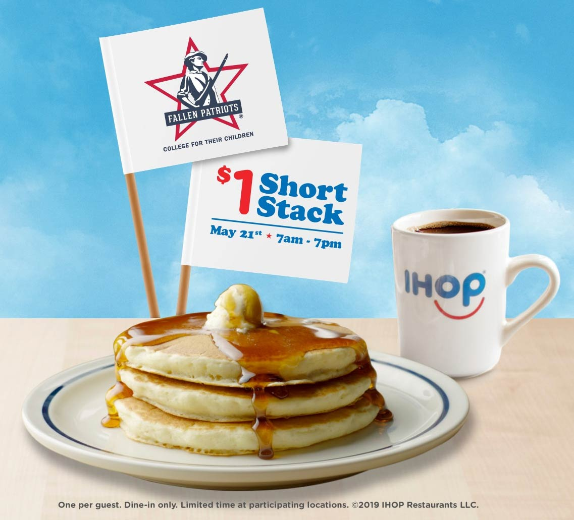 IHOP Coupon November 2019 $1 short stack pancakes the 21st at IHOP