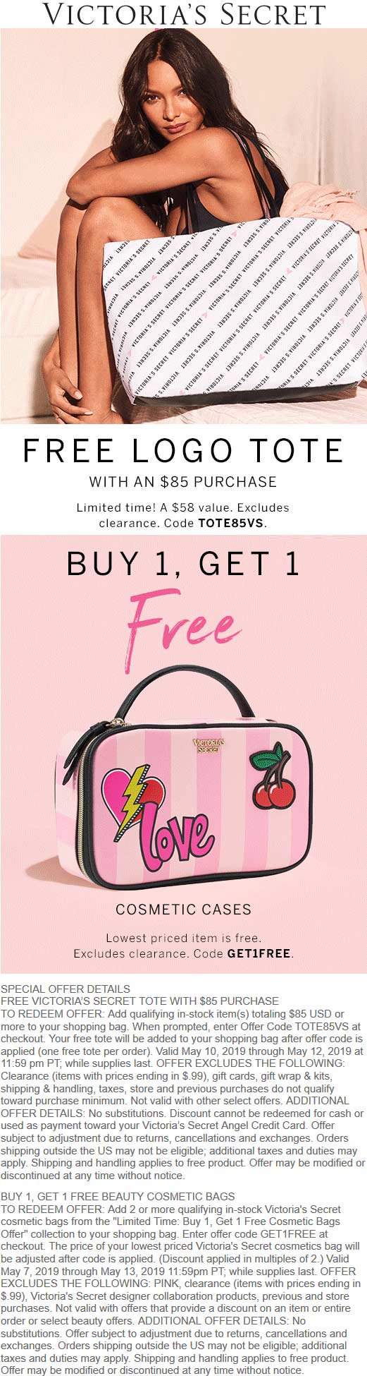 Victorias Secret Coupon May 2019 Free tote & more at Victorias Secret, or online via promo code TOTE85VS