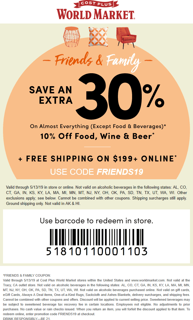 WorldMarket.com Promo Coupon 30% off at World Market, or online via promo code FRIENDS19