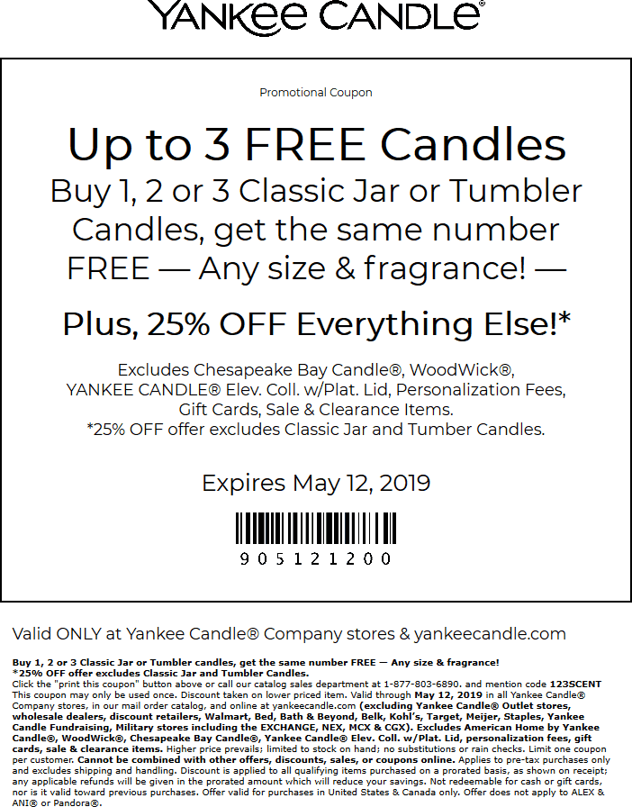 Yankee Candle Coupon May 2019 Second candle free + 25% off at Yankee Candle, or online via promo code 123SCENT