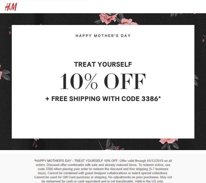 H&M Coupon January 2020 10% off today at H&M, or online via promo code 3386