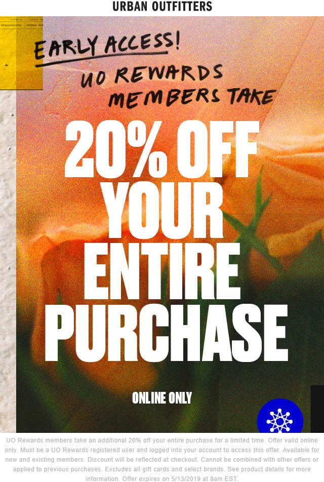 Urban Outfitters Coupon July 2019 20% off online today at Urban Outfitters