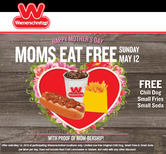 Wienerschnitzel Coupon August 2019 Mom eats free today at Wienerschnitzel restaurants