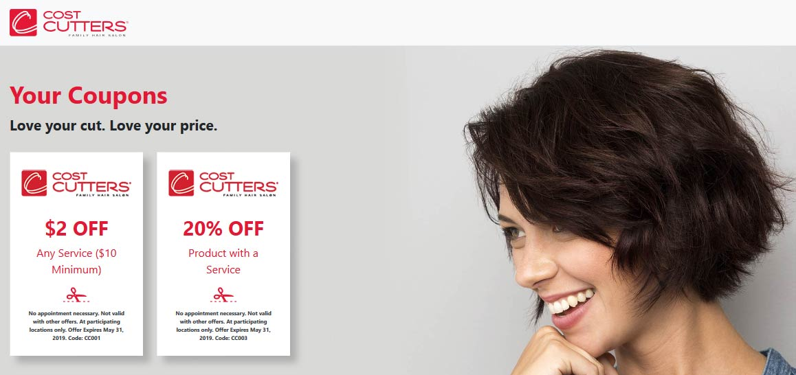 Cost Cutters Coupon August 2019 $2 off & more at Cost Cutters hair salons
