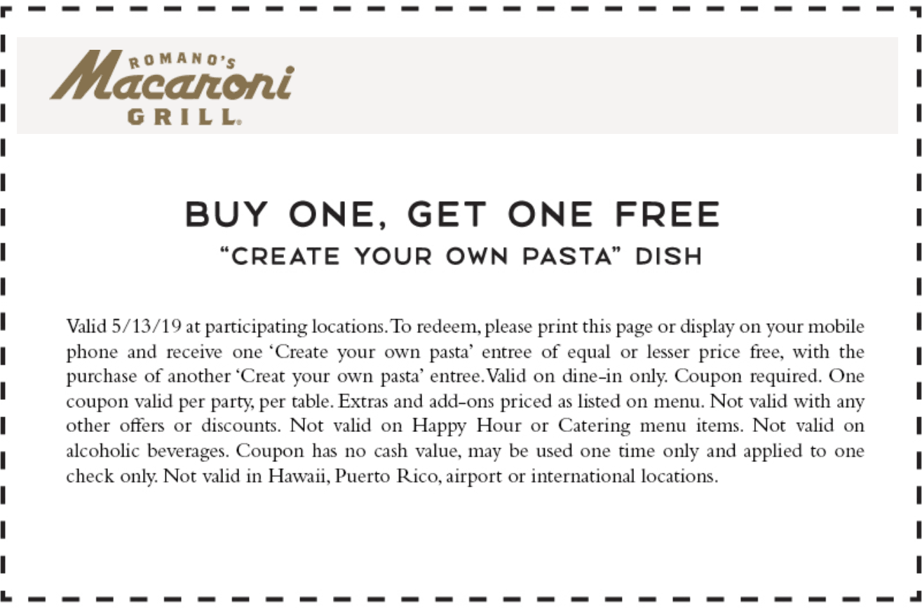 Macaroni Grill Coupon May 2019 Second pasta dish free today at Macaroni Grill restaurants