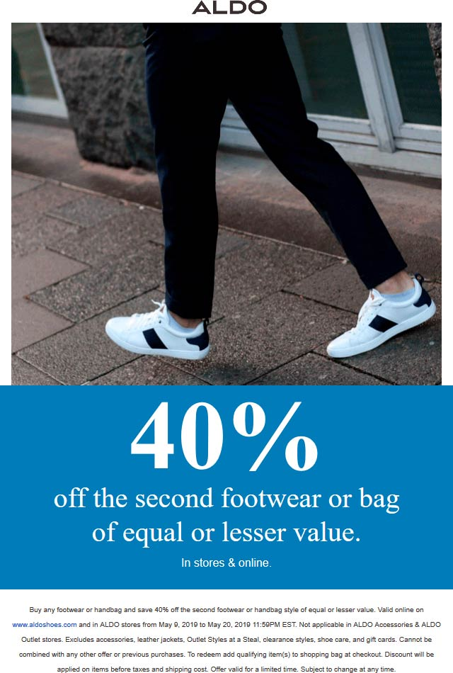 Aldo.com Promo Coupon Second pair 40% off at ALDO, ditto online