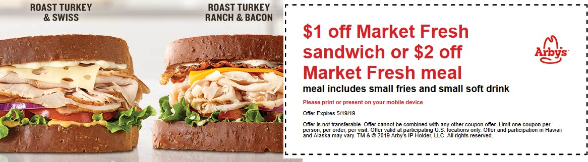 Arbys Coupon January 2020 $1-$2 off market fresh sandwich or meal at Arbys