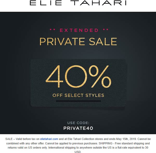 Elie Tahari Coupon July 2019 40% off at Elie Tahari, or online via promo code PRIVATE40