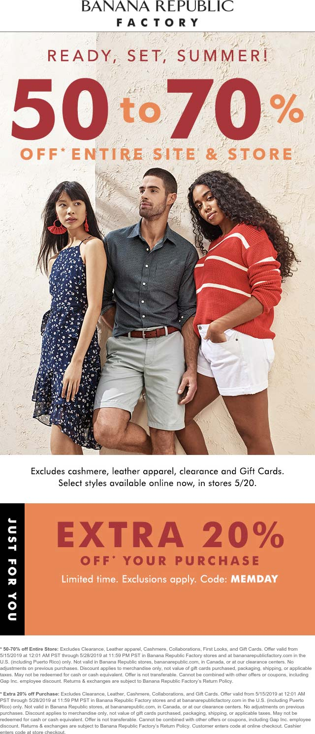 Banana Republic Factory Coupon May 2019 70-90% off everything at Banana Republic Factory, or online via promo code MEMDAY