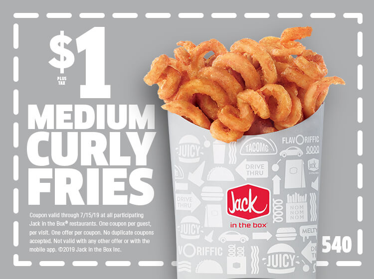 JackintheBox.com Promo Coupon $1 curly fries at Jack in the Box restaurants