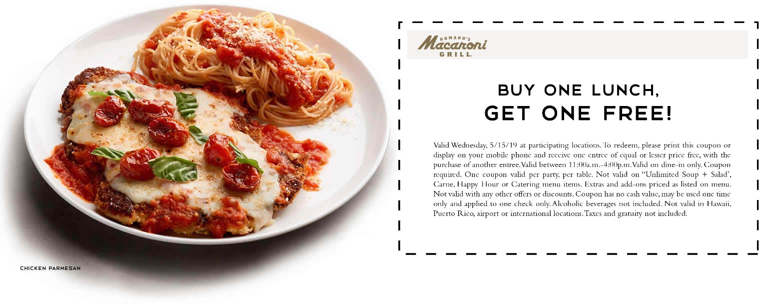 Macaroni Grill Coupon June 2020 Second lunch free today at Macaroni Grill
