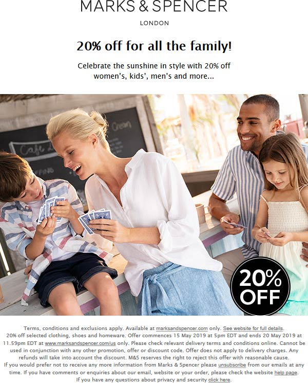 Marks & Spencer Coupon January 2020 20% off online at Marks & Spencer, no code needed