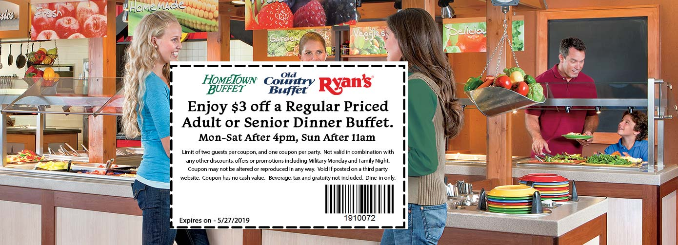 Old Country Buffet Coupon November 2019 $3 off dinner at HomeTown Buffet, Ryans and Old Country Buffet