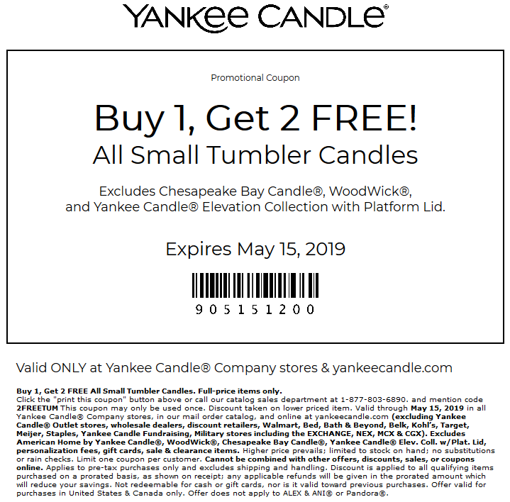Yankee Candle Coupon September 2019 3-for-1 on small candles today at Yankee Candle, or online via promo code 2FREETUM