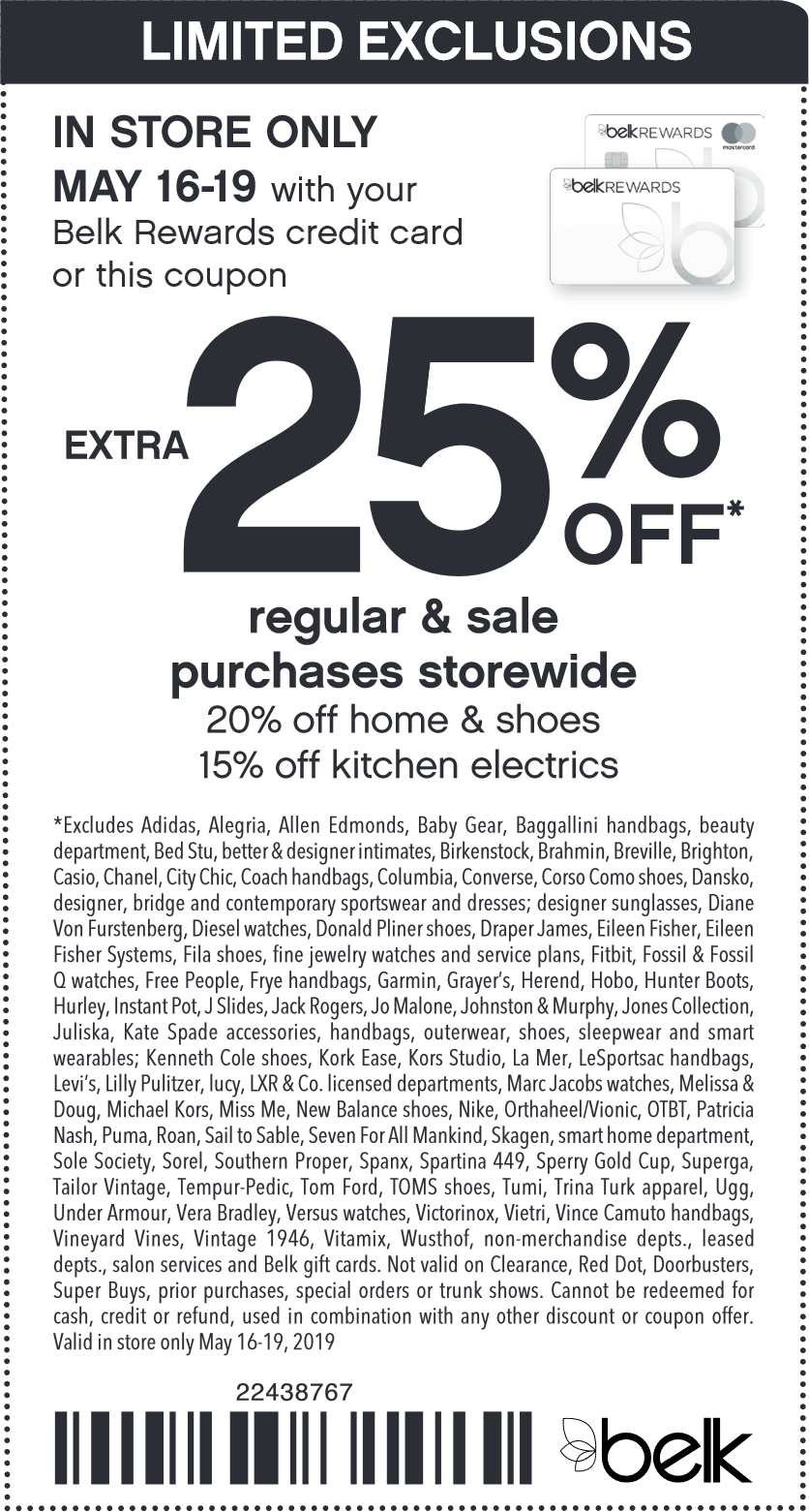 Belk Coupon August 2019 Extra 25% off at Belk