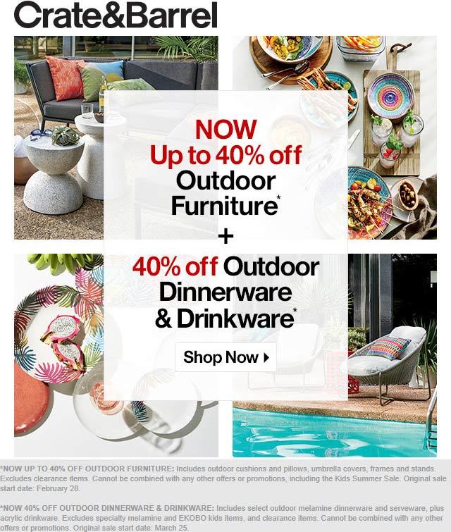 Crate & Barrel Coupon July 2020 40% off outdoor wares at Crate & Barrel, ditto online