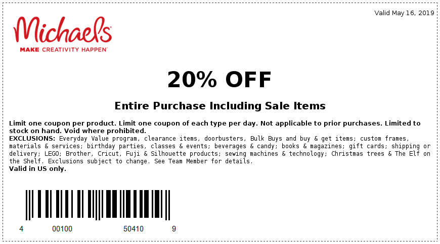 Michaels Coupon August 2019 20% off everything today at Michaels