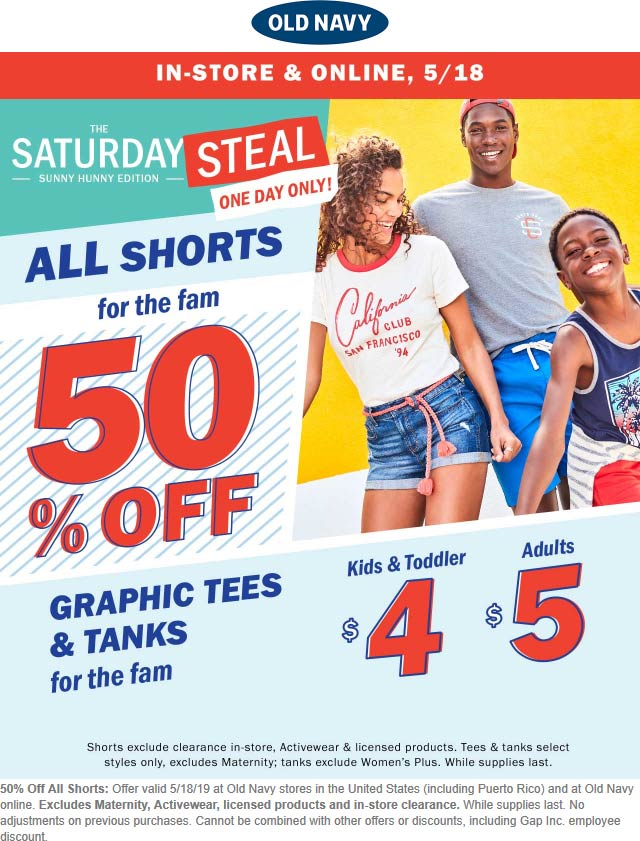 OldNavy.com Promo Coupon 50% off shorts Saturday at Old Navy, ditto online