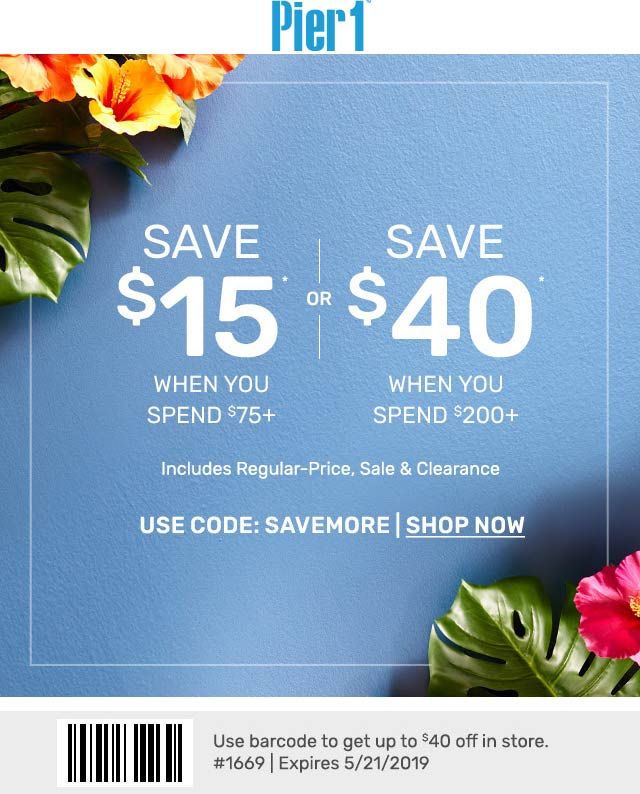 Pier 1 Coupon August 2019 $15 off $75 & more at Pier 1, or online via promo code SAVEMORE