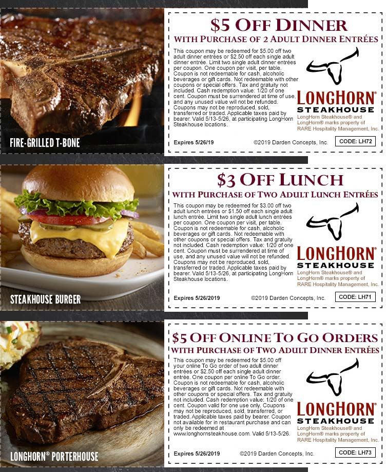 LonghornSteakhouse.com Promo Coupon $3-$5 off at Longhorn Steakhouse restaurants