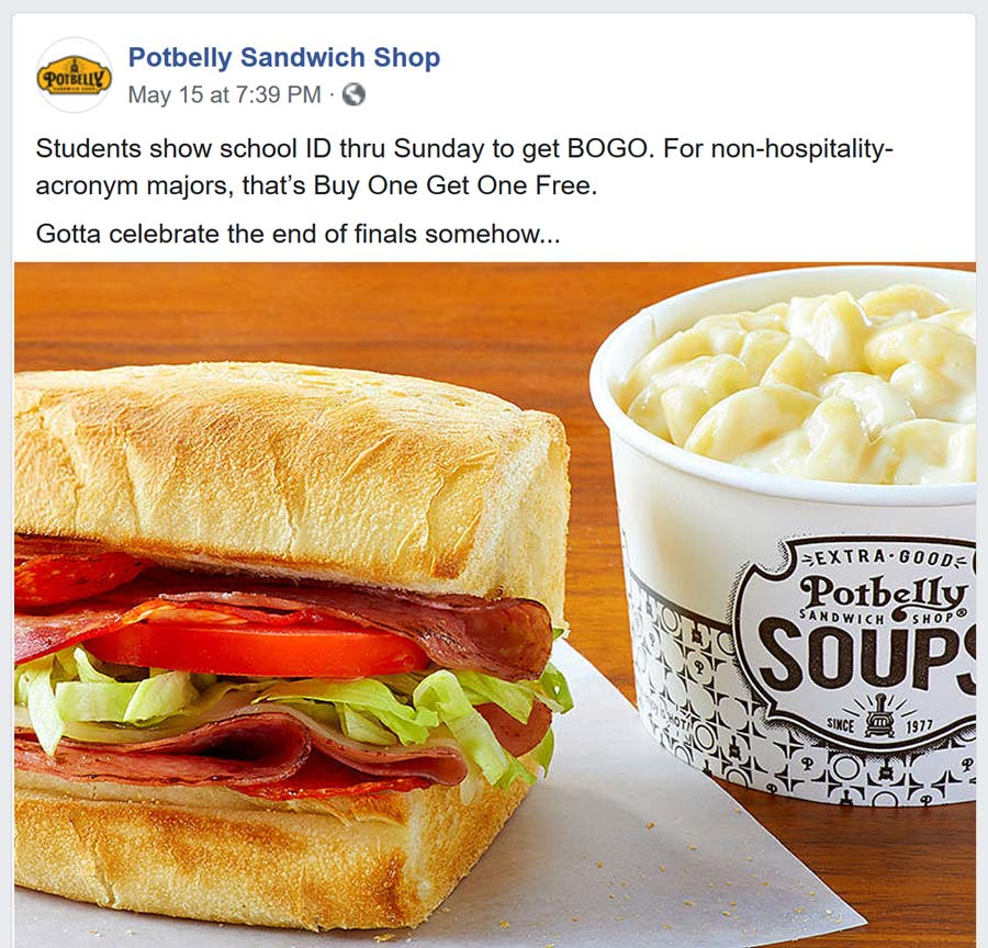 Potbelly Coupon October 2019 Students enjoy second meal free at Potbelly Sandwich Shop