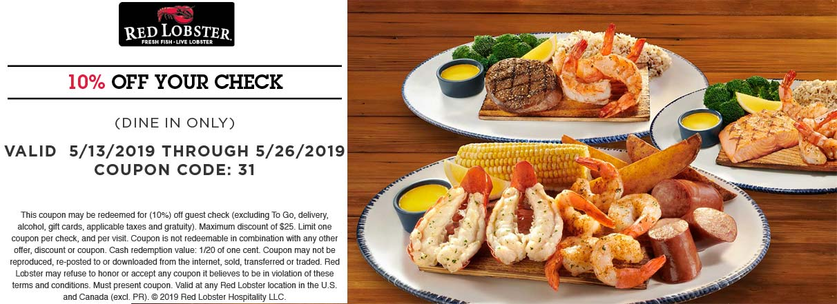 Red Lobster Coupon September 2019 10% off at Red Lobster restaurants