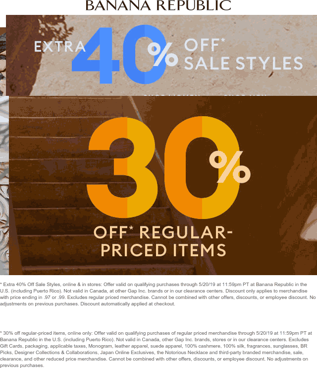 BananaRepublic.com Promo Coupon 30-40% off at Banana Republic, ditto online