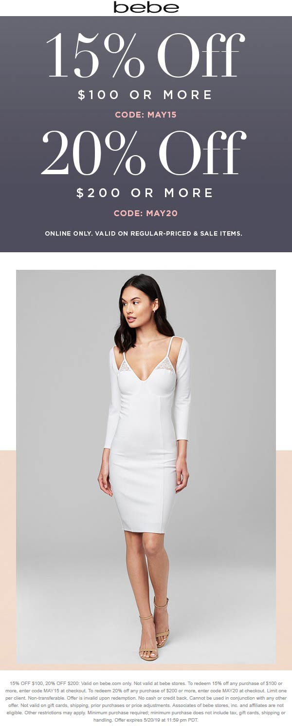 Bebe Coupon June 2020 15-20% off $100+ online at bebe via promo code MAY20