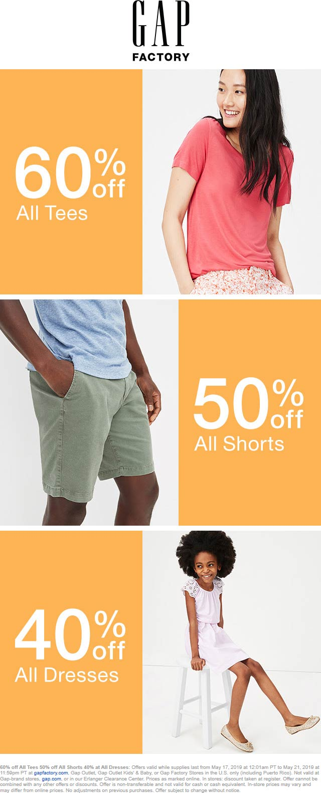 GapOutlet.com Promo Coupon 40-60% off at Gap Factory, Gap Outlet, Gap Outlet Kids & Baby, ditto online