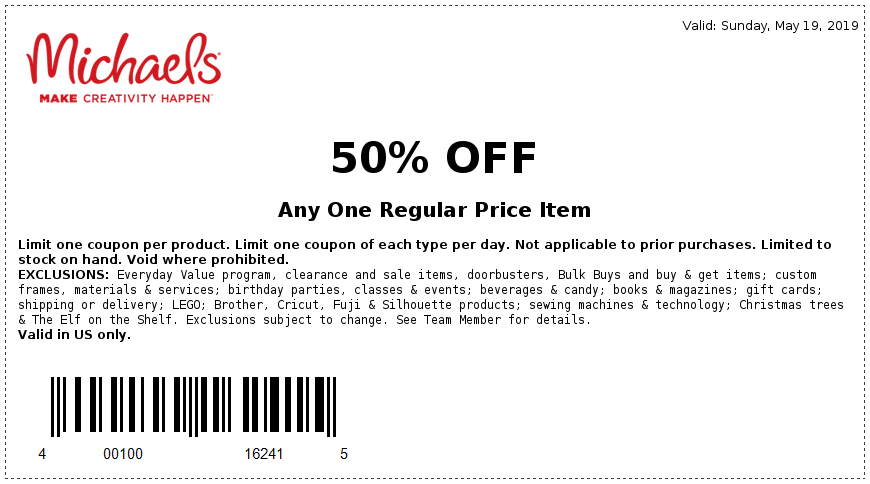 Michaels Coupon June 2019 50% off a single item today at Michaels