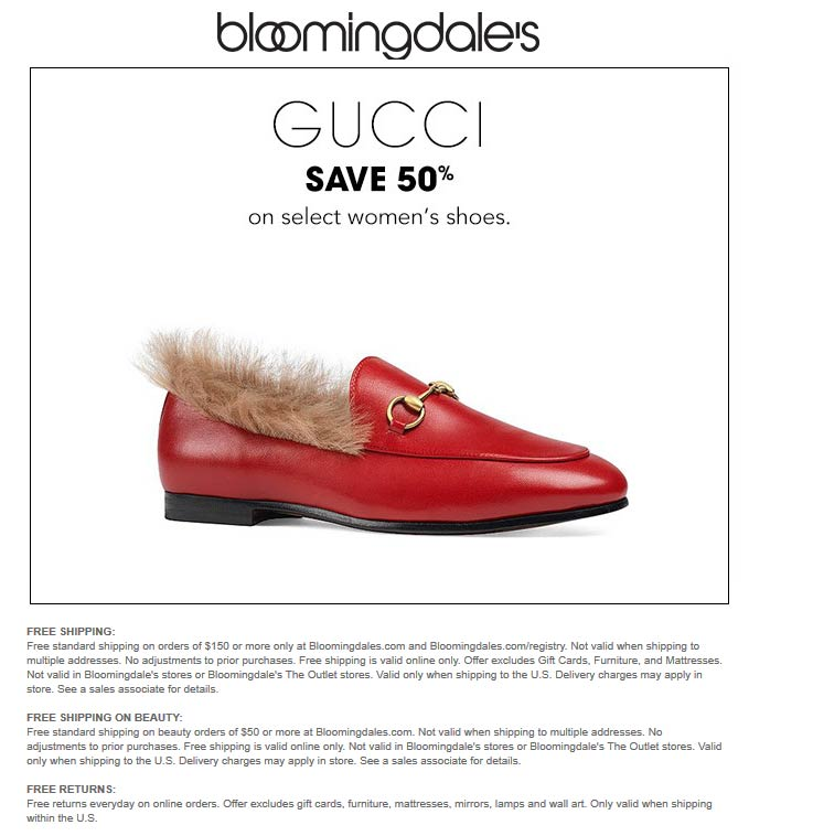 Bloomingdales Coupon June 2019 50% off Gucci shoes at Bloomingdales, ditto online