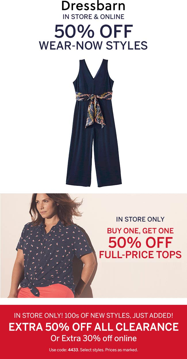 Dressbarn.com Promo Coupon 50% off & more at Dressbarn, ditto onoine