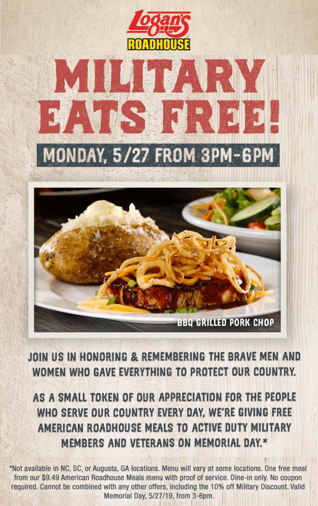 LogansRoadhouse.com Promo Coupon Military eats free Monday at Logans Roadhouse restaurants