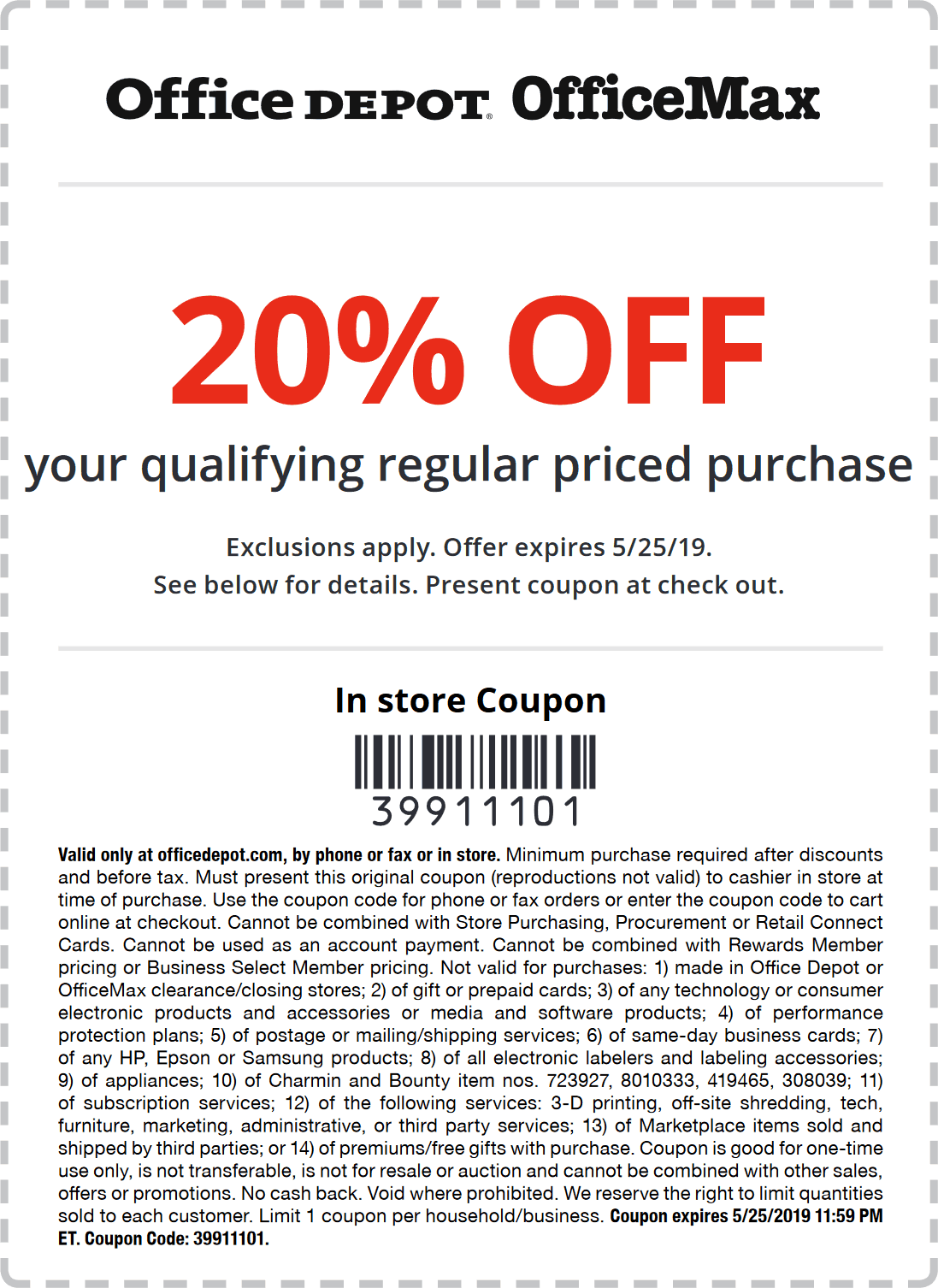 OfficeDepot.com Promo Coupon 20% off at Office Depot & OfficeMax, or online via promo code 39911101