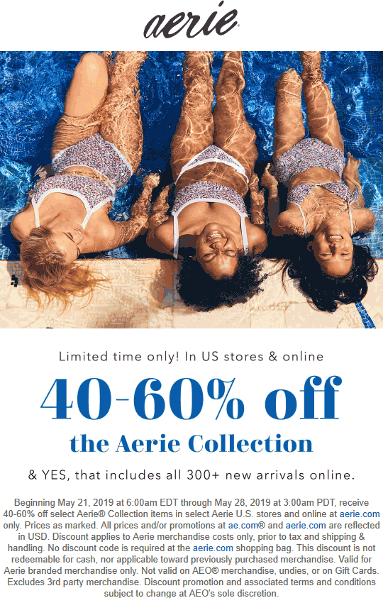 Aerie Coupon June 2019 40-60% off the collection at Aerie, ditto online