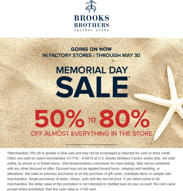 Brooks Brothers Factory Coupon February 2020 50-80% off at Brooks Brothers Factory Store